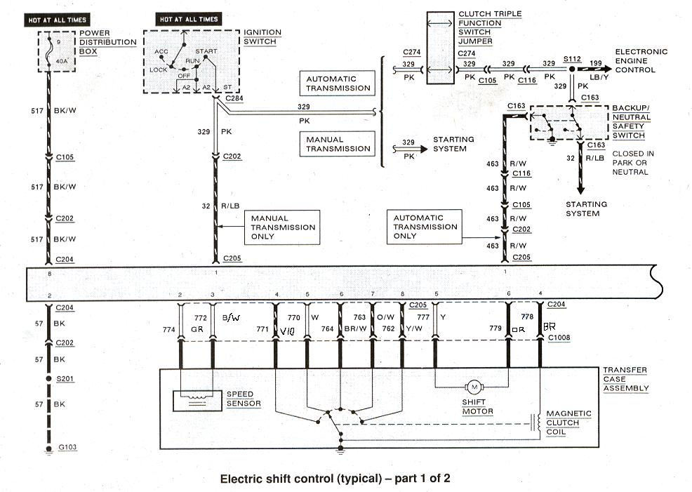 Diagram_ElectronicShiftControl1 ford ranger & bronco ii electrical diagrams at the ranger station 1999 ford ranger xlt wiring diagrams at mifinder.co