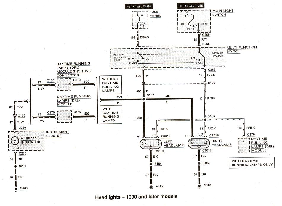 Diagram_Headlights_1990andlater ford ranger wiring by color 1983 1991 Chevy Headlight Switch Wiring Diagram at aneh.co
