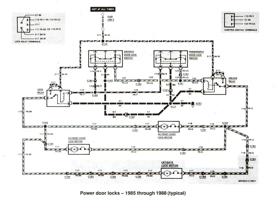 Diagram_Powerdoorlocks_1985thru1988 1997 ford f350 wiring diagram 1997 ford e450 wiring diagram \u2022 free 4 Ohm Subwoofer Wiring Diagram at fashall.co