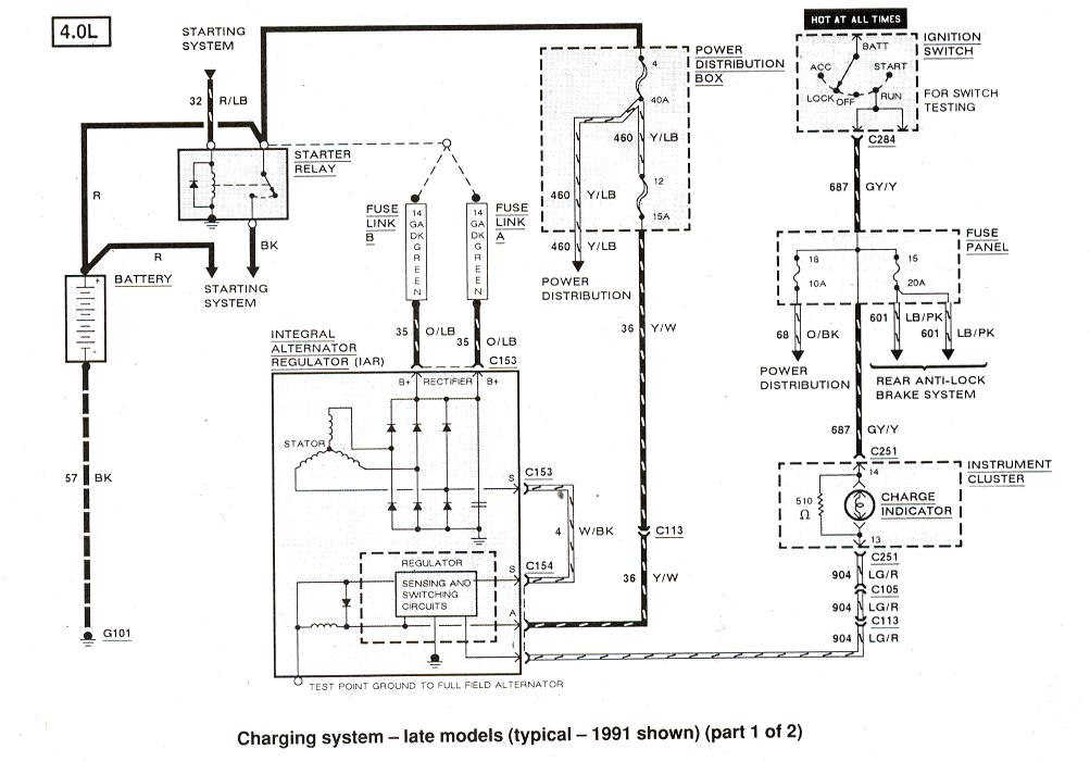 ford ranger \u0026 bronco ii electrical diagrams at the ranger station charging system 1991 1 of 2 diagrams