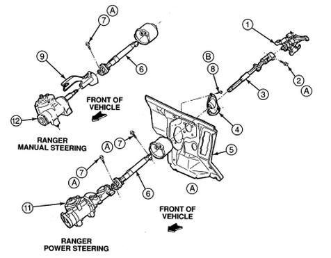1992 ford ranger steering column diagram